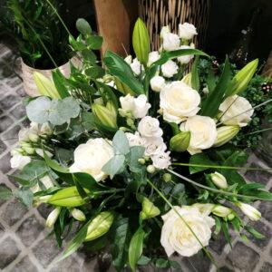 Bouquet champêtre blanc et vert