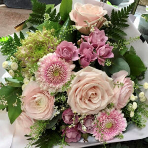 Bouquet rond tons pastels