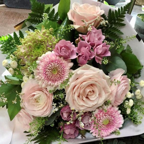 Bouquet rond tons pastels